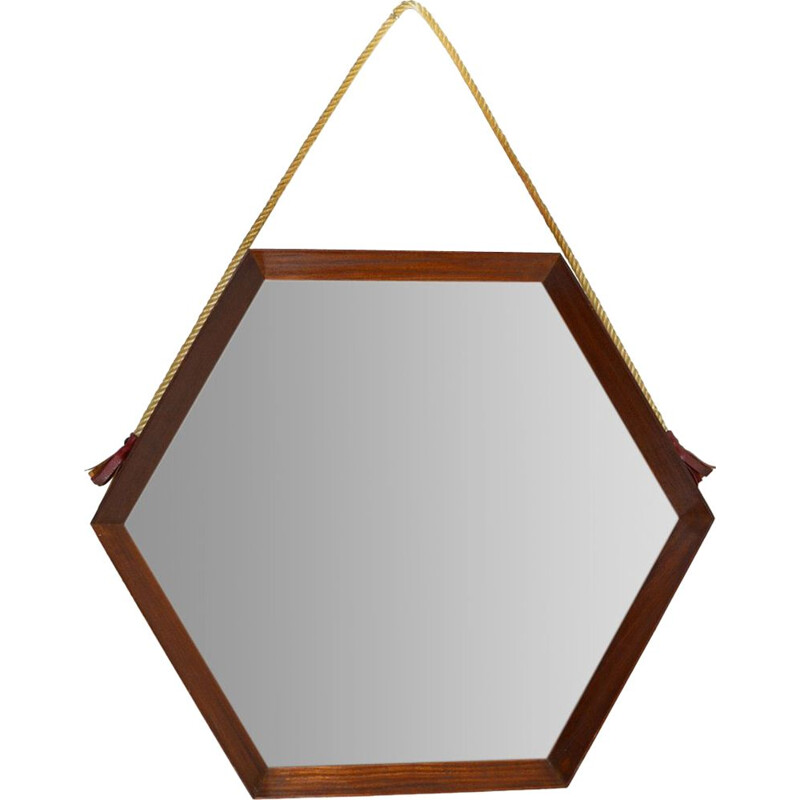 Vintage Hexagona Italian mirror in teak, 1960