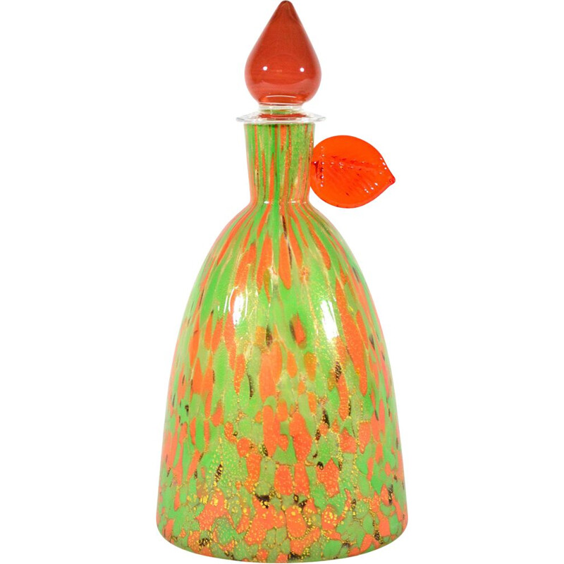 Vintage Bottle in Murano Glass by Carlo Moretti, Italy