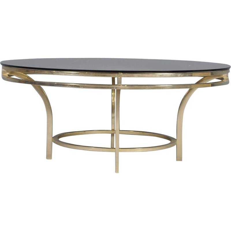 Vintage  Coffee Table in Brass and Smoked Glass, Italian, 1970s