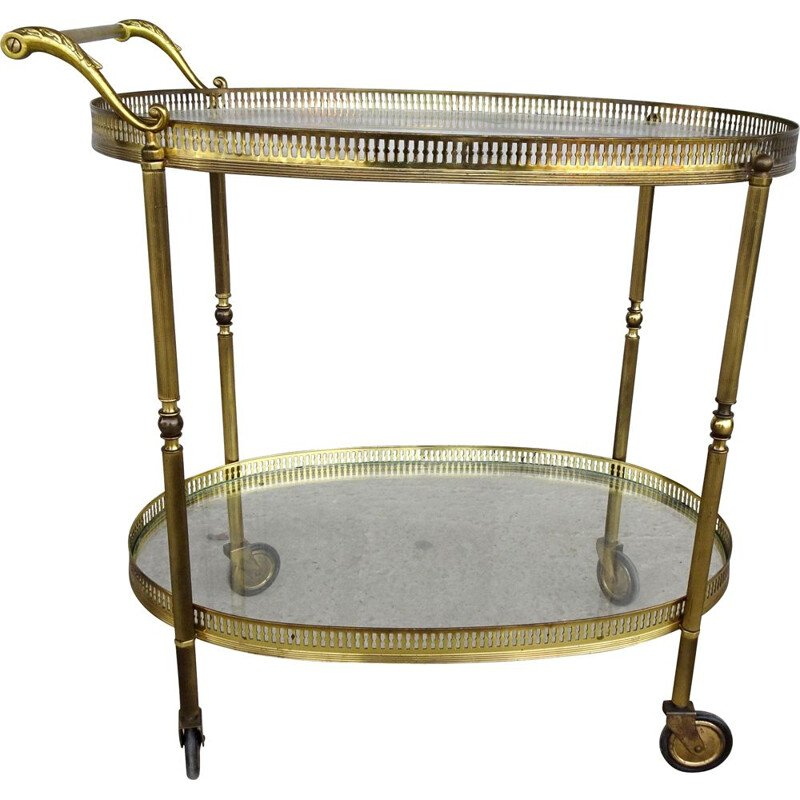 Vintage serving trolley golden with glass tops