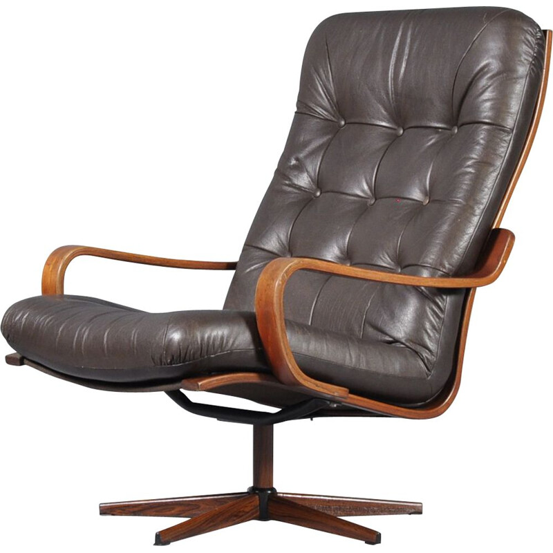 Vintage Swedish leather swivel armchair