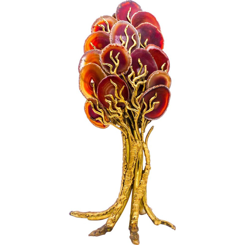 Vintage tree in brass and agate sculpture lamp