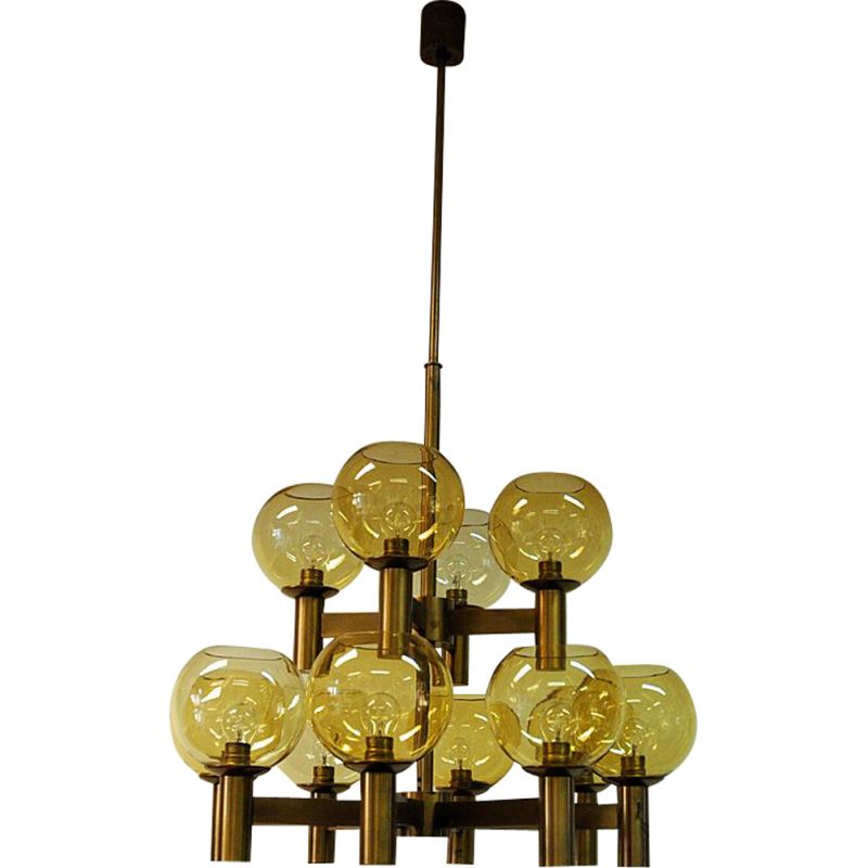 Vintage chandelier of brass and glass 1960