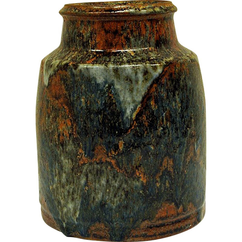 Vintage rustic glazed ceramic vase by Erik Pløen- Norway