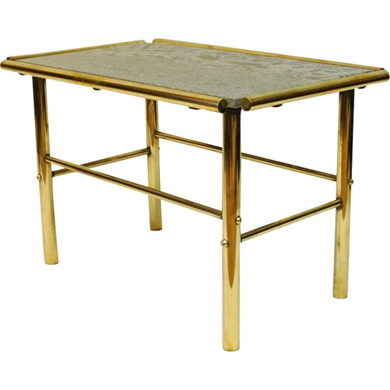 Vintage marble and brass rectangular table
