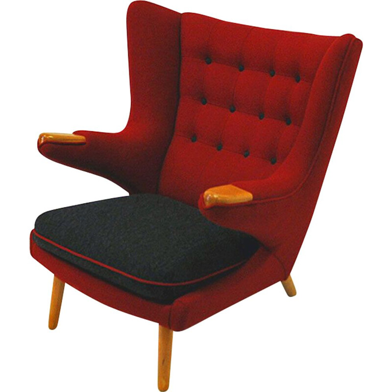 Vintage armchair red wool, Nanna Ditzel, Scandinavian, from around 1950s