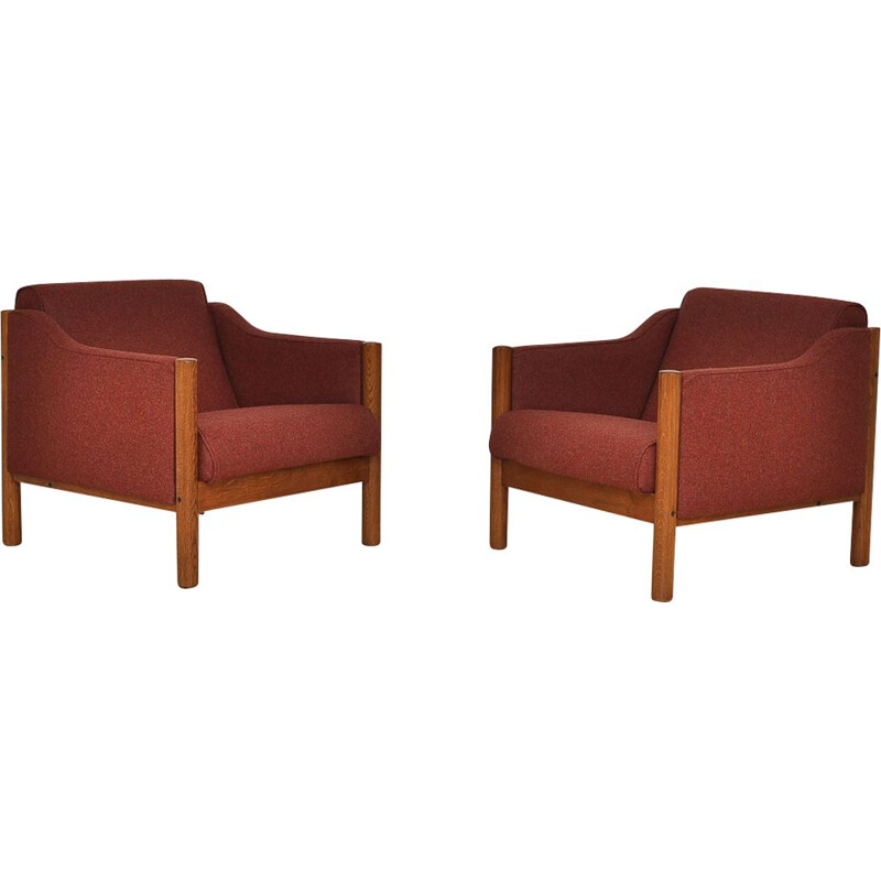 Set of 2 vintage Armchair Wool Covered, 1970s
