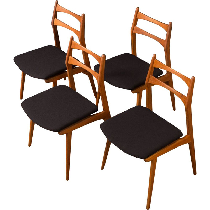 Set of 4 black chairs in teak by Habeo