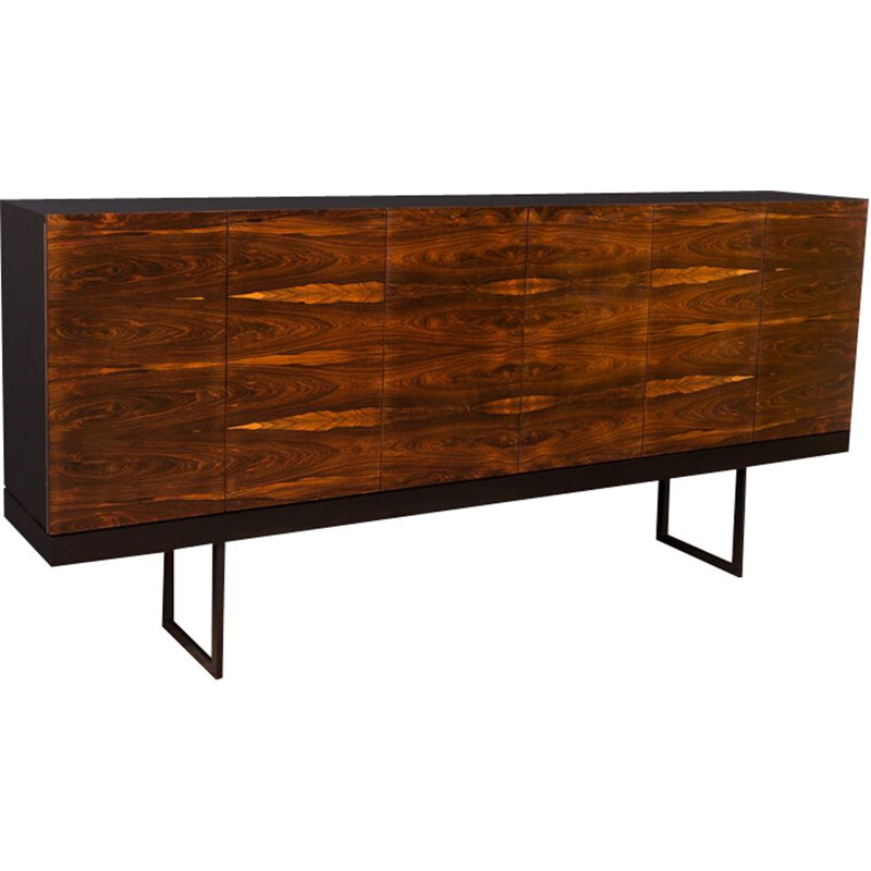 Vintage rosewood sideboard with steel legs