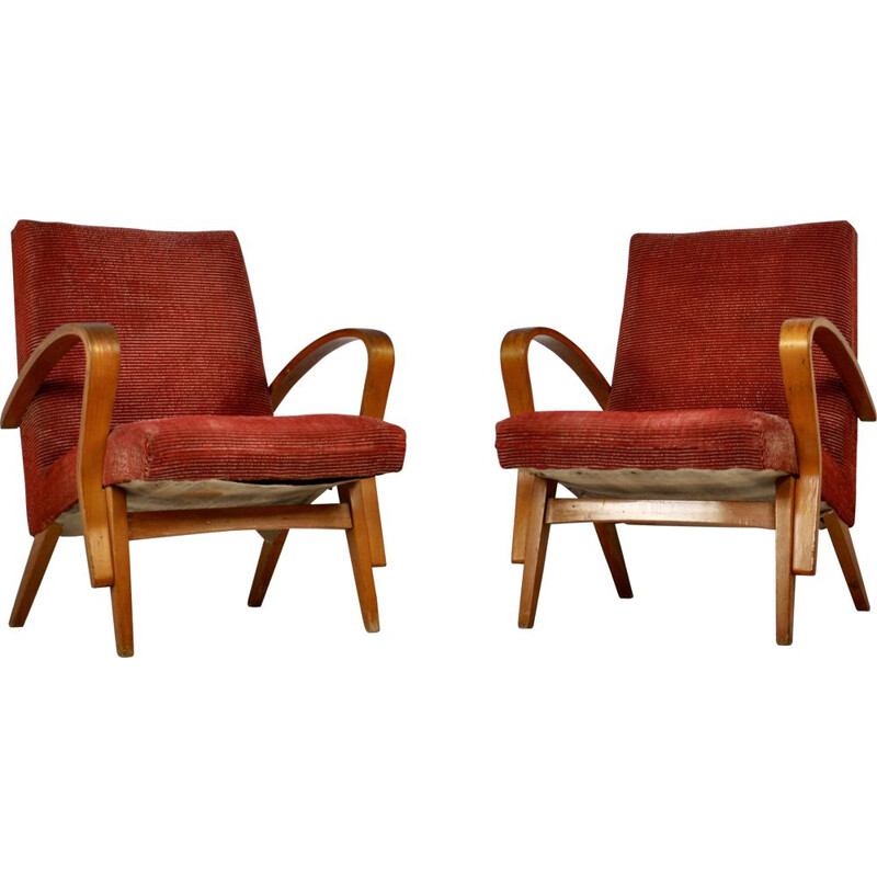 Pair of red wooden armchairs