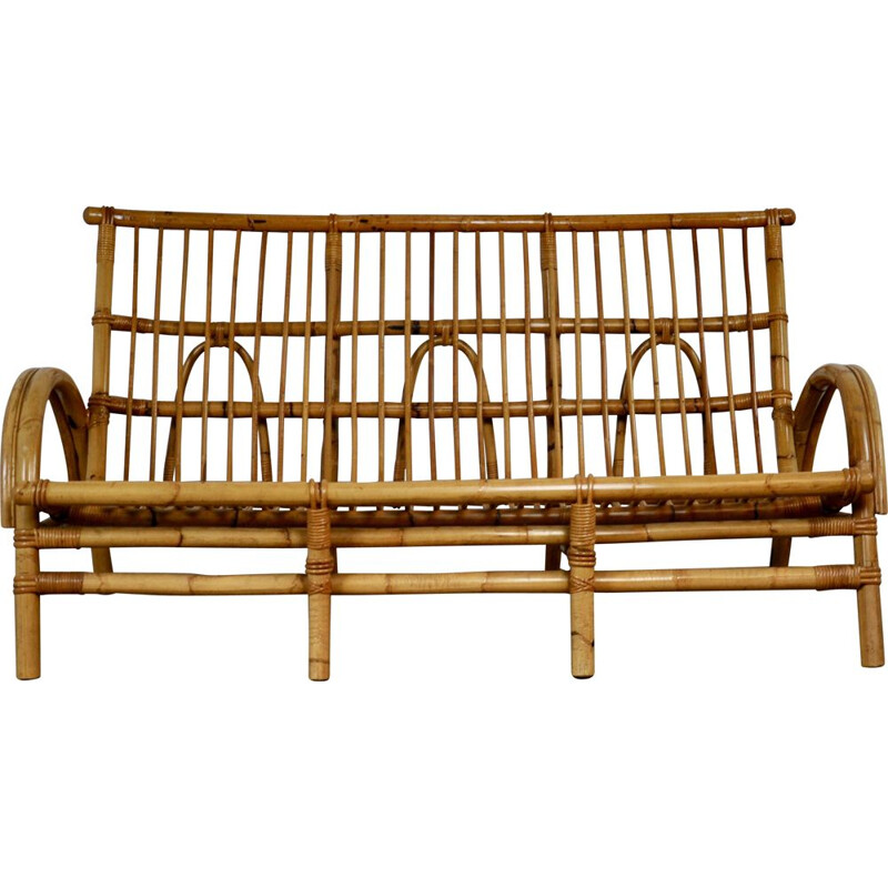 Vintage 3-seater bench in rattan