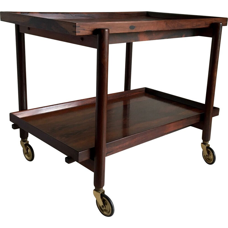 Rosewood serving cart by Poul Hundevad
