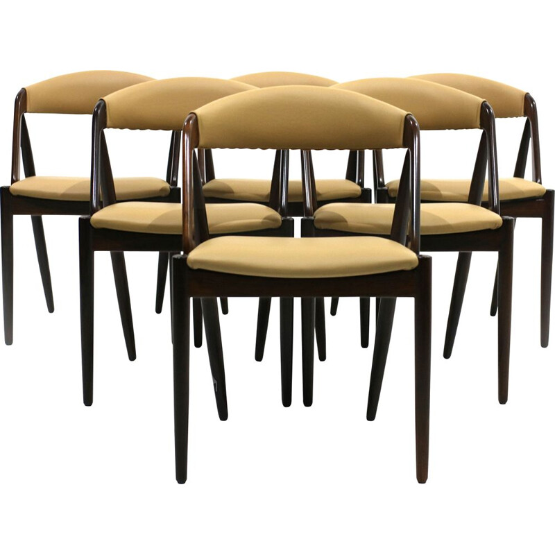 Set of 6 beige chairs in rosewood by Kai Kristiansen, model 31