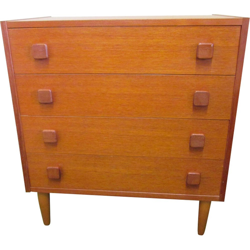 Vintage chest of 4 drawers in teak