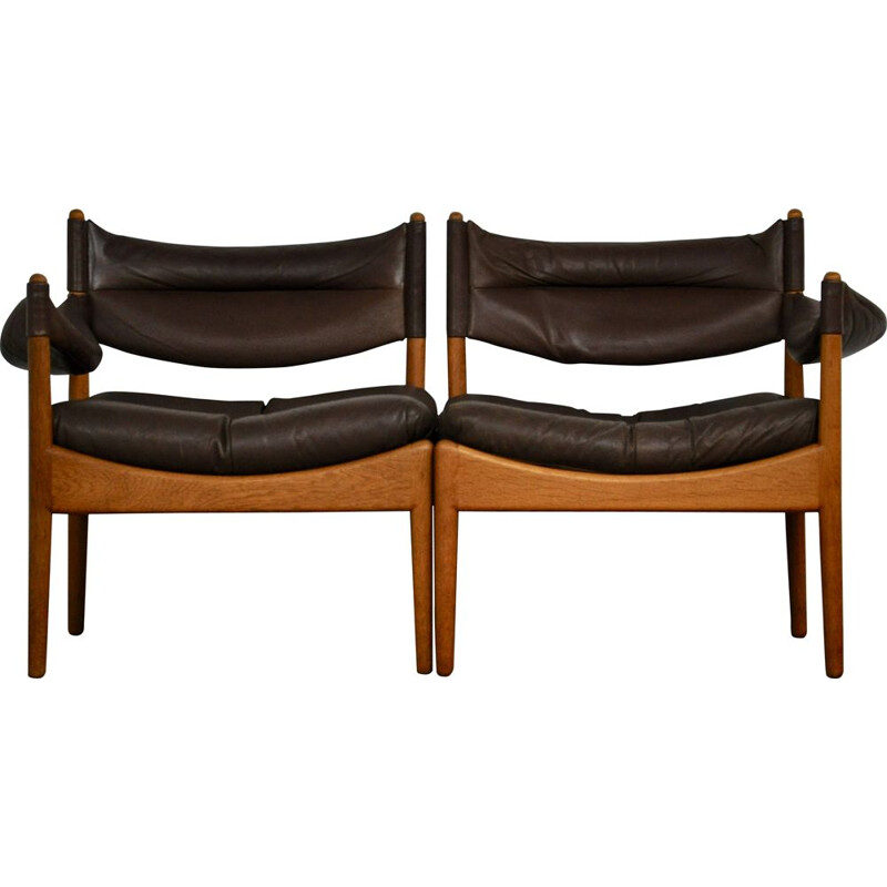 Vintage Modus living room for Soren Willadsen in black leather 1960