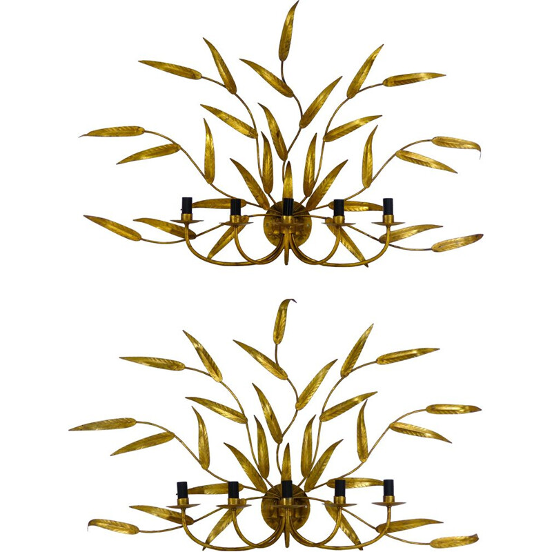Pair of vintage french sconces with golden foliage 1970
