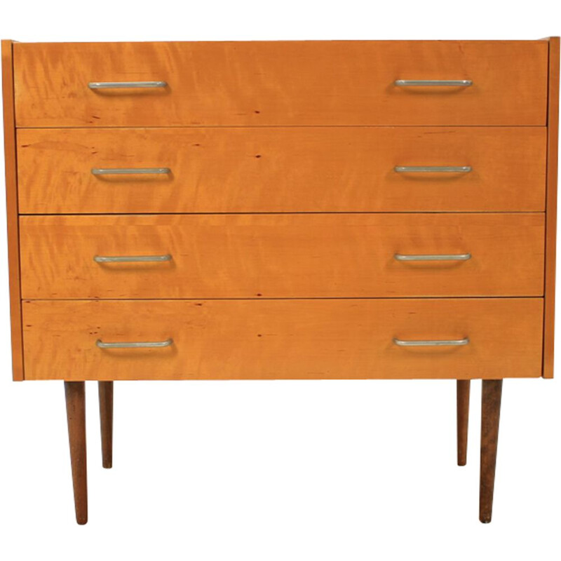 Vintage czech chest of drawers for ÚP Závody in walnut and birchwood 1960