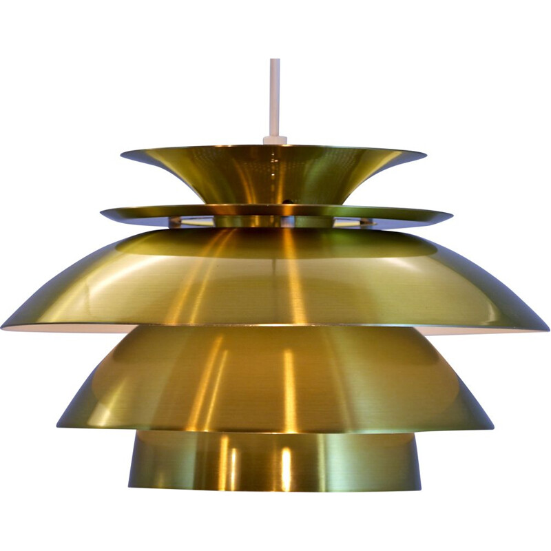 Vintage danish pendant in brass-coated aluminium 1970s