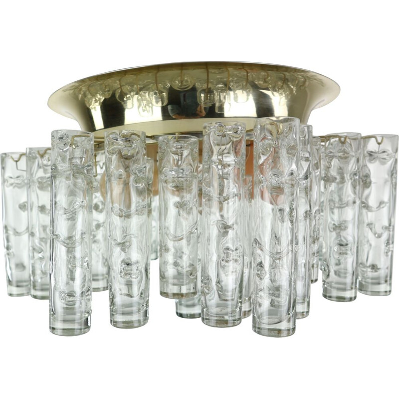 Vintage tube chandelier in Murano glass and brass 1960