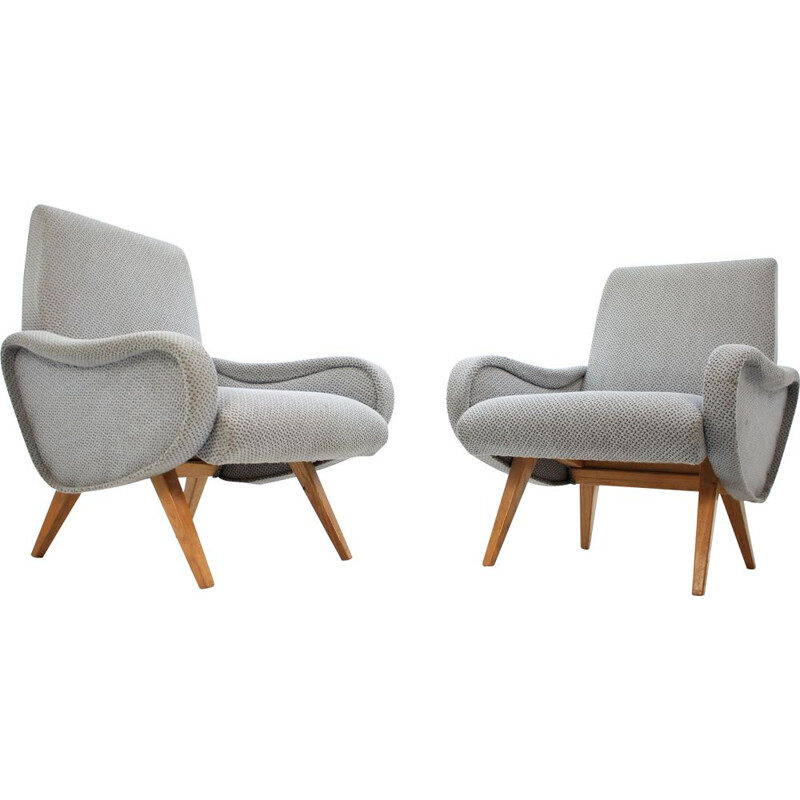 Pair of vintage armchairs in gray fabric and wood 1970
