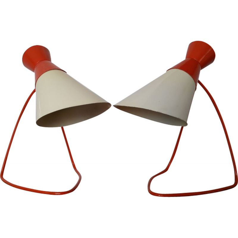 Pair of vintage table lamps for Napako in red and white metal 1960