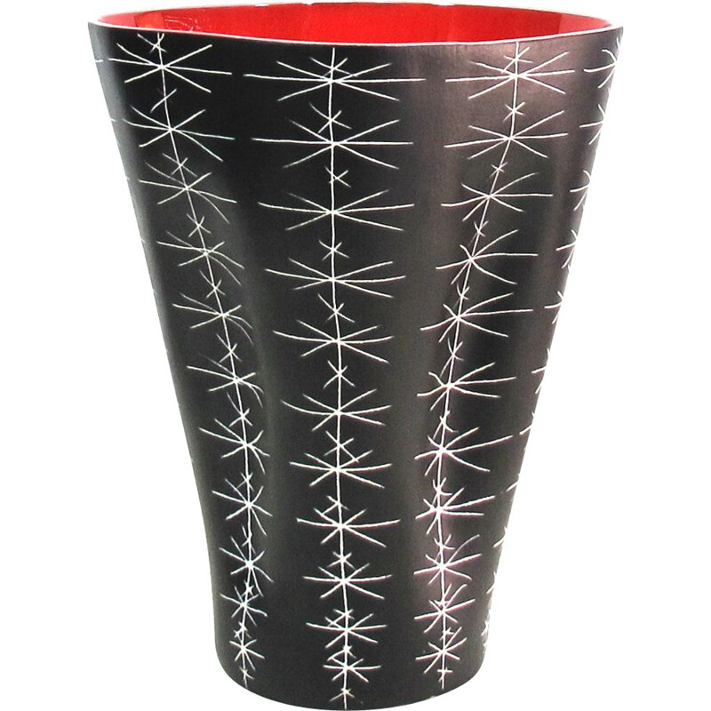 Vintage vase by Lespinasse in black and red ceramic 1950