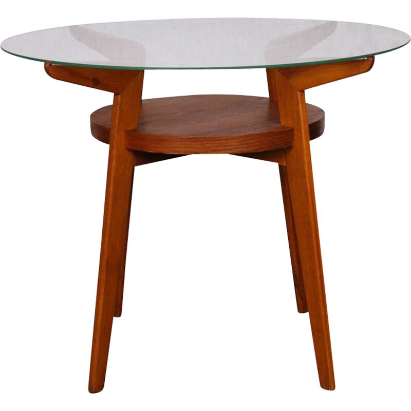 Vintage coffee table for Jitona in wood and glass 1960