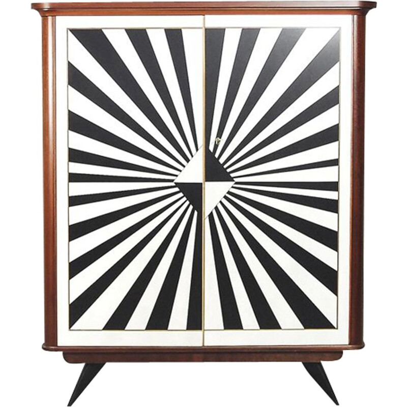 Vintage Cabinet with Drawers, Rockabilly and Hand-Painted Op-Art Pattern, German, 1950s