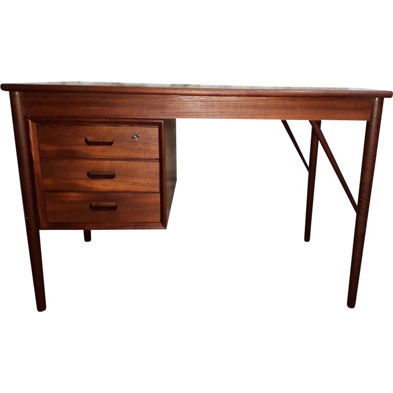 Vintage desk in teak, three drawers