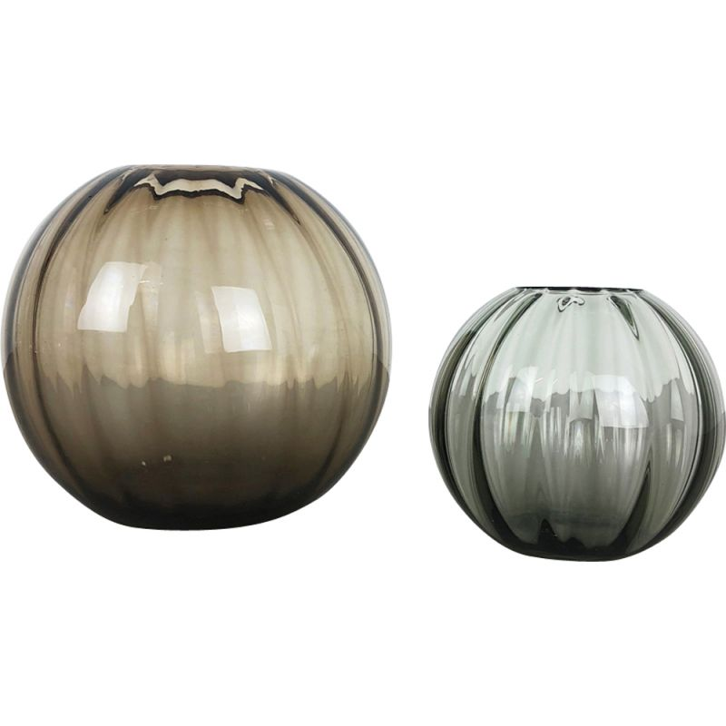 Set of 2 vintage brown ball vases for WMF Germany in glass