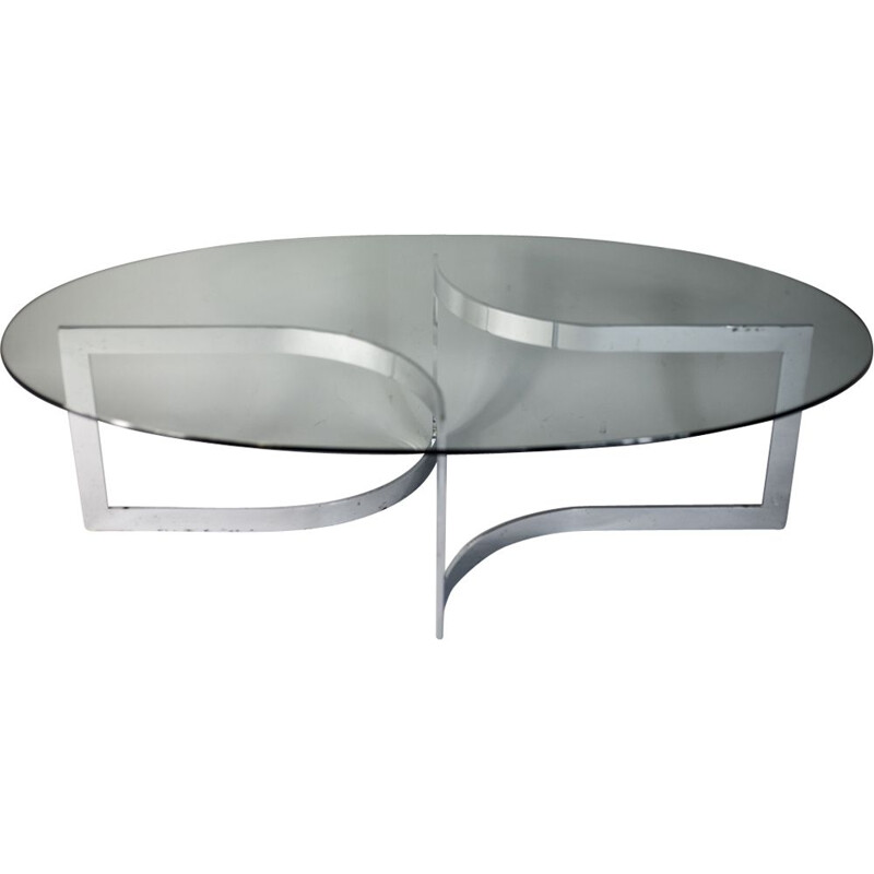French vintage Elliptique table by Legeard in glass and chromed steel 1970