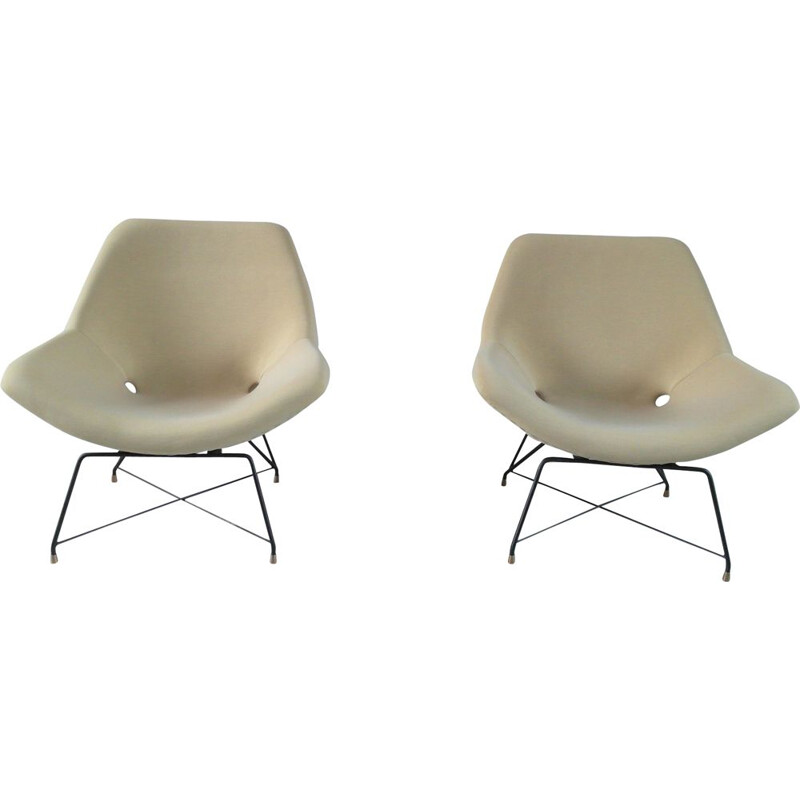 Pair of vintage armchairs for Saporiti in beige fabric and metal 1950