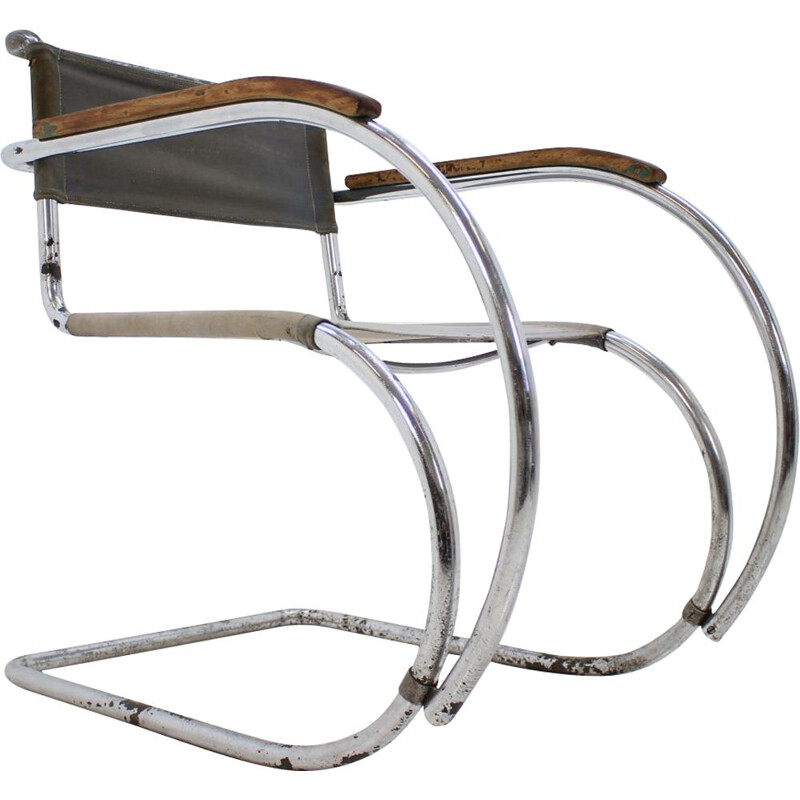 Vintage chair for Mücke Melder in iron and fabric 1930