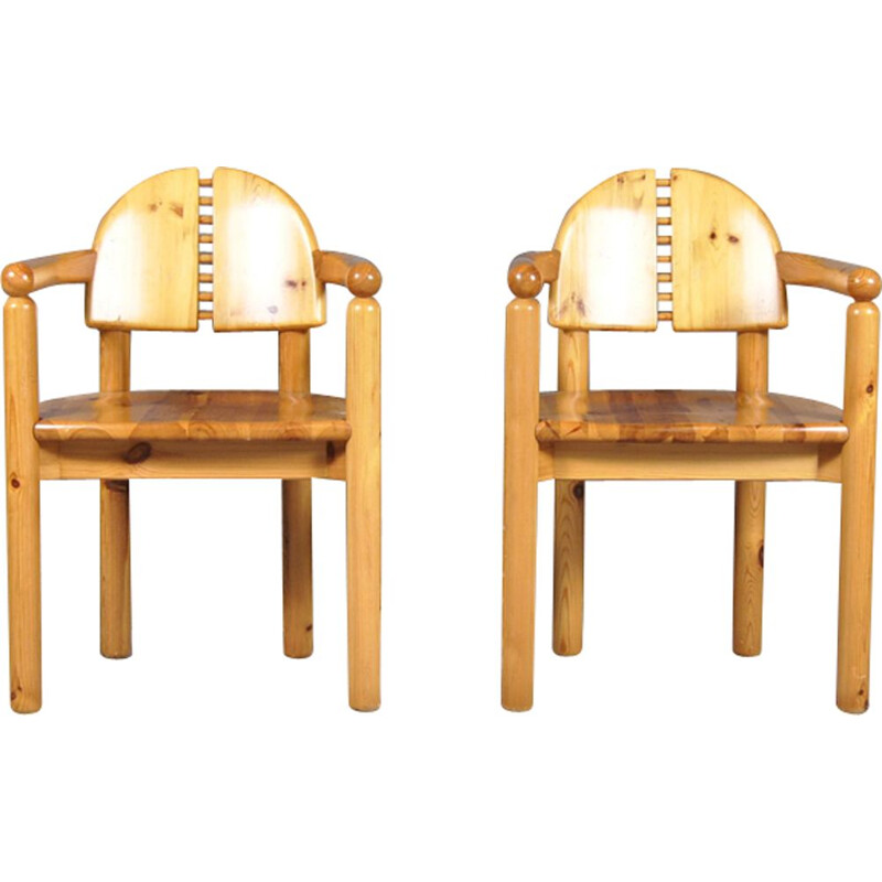 Set of 2 vintage Dining Chairs in pine wood by Rainer Daumiller for Hirtshals Sawmill, Sweden, 1970s