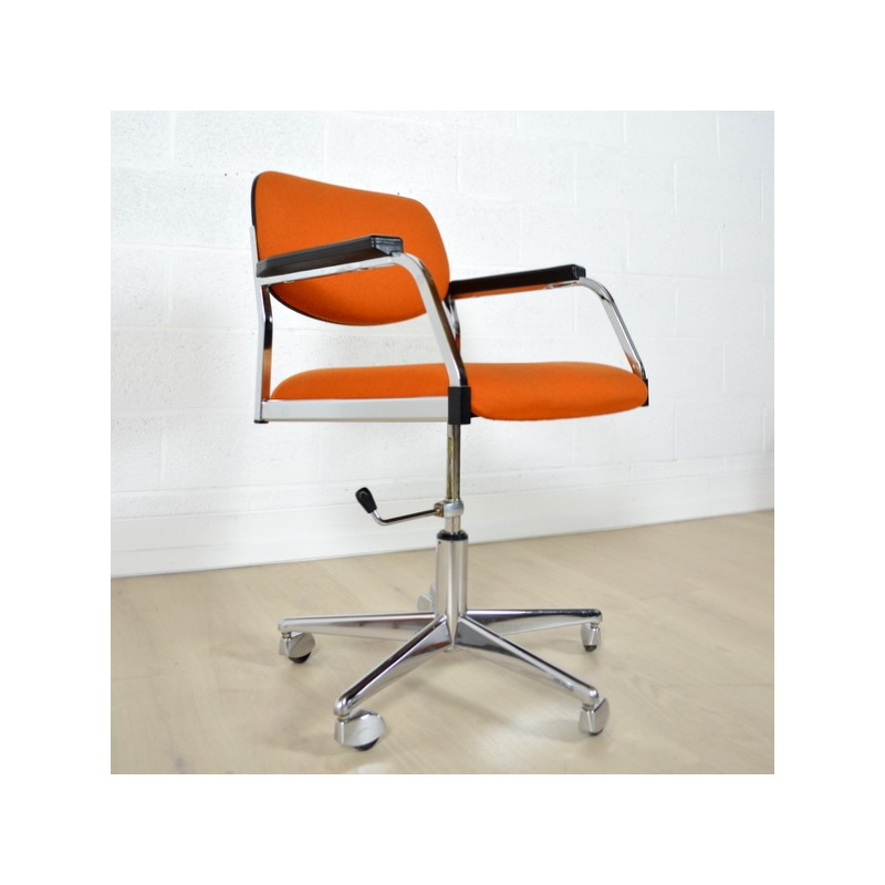 Vintage Desk Chair In Metal And Orange Fabric 1960s Design Furniture Previous