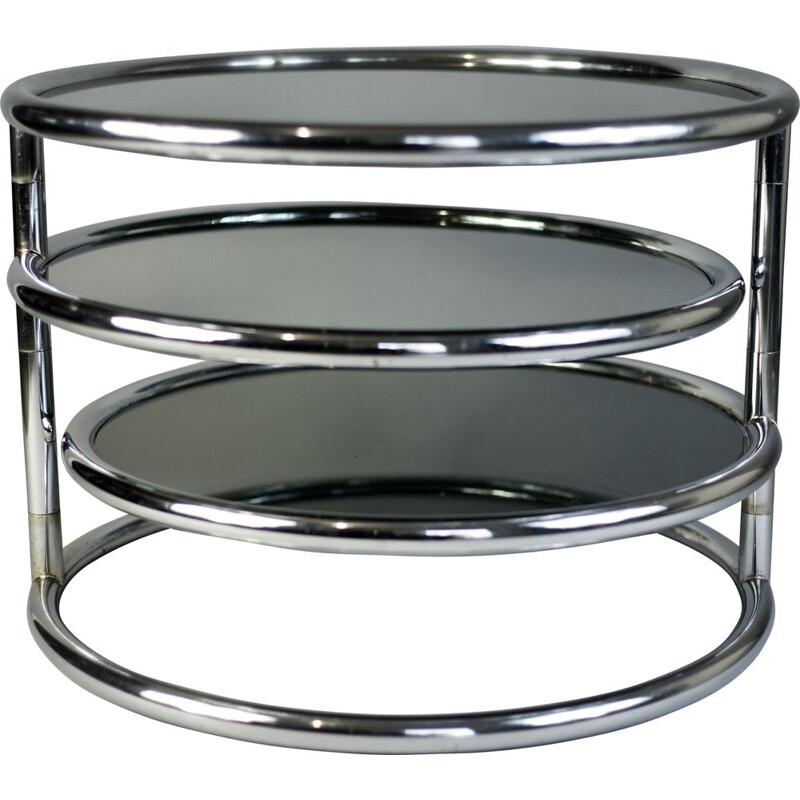 Vintage italian coffee table for Morex in glass and steel 1970
