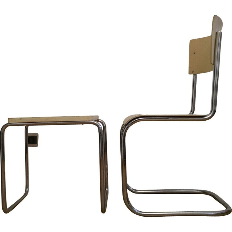 Vintage Bauhaus yellow chair and stool for Slezák in metal 1930