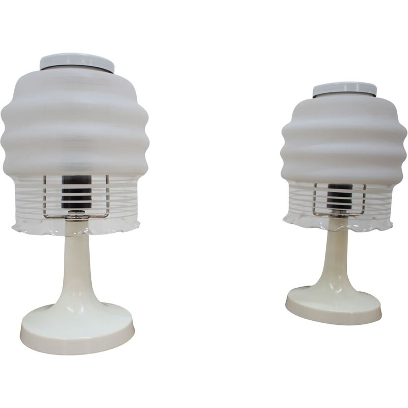 Set of 2 vintage white lamps by Valašské Meziříčí in glass and plastic 1970