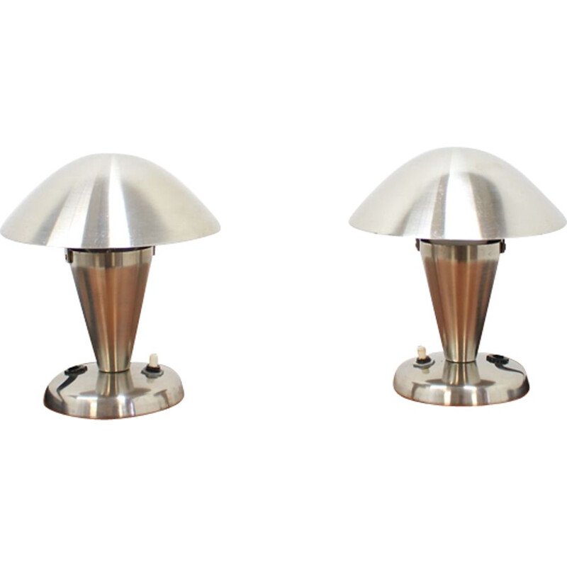 Pair of vintage Bauhaus lamps in chrome 1930