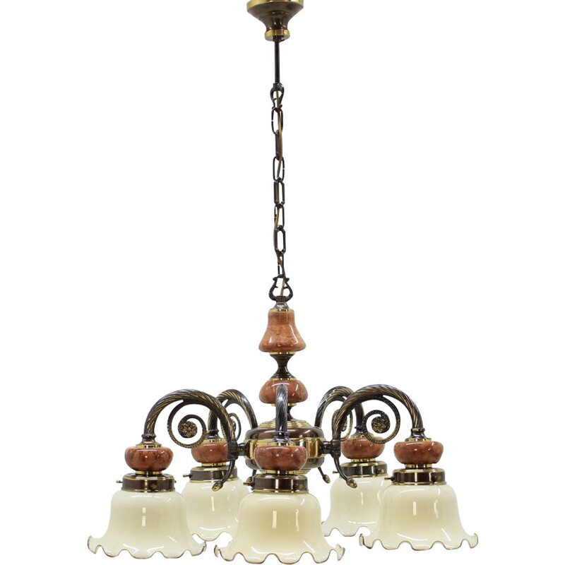 Set of 6 vintage chandeliers in brass and marble 1980