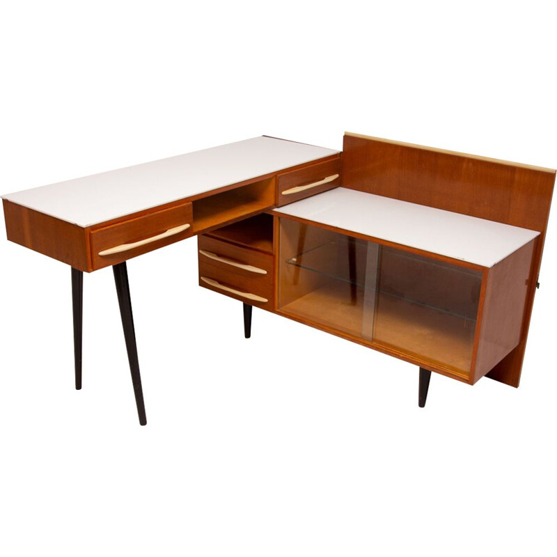 Vintage desk with a bookcase for UP Závody in wood and glass 1960