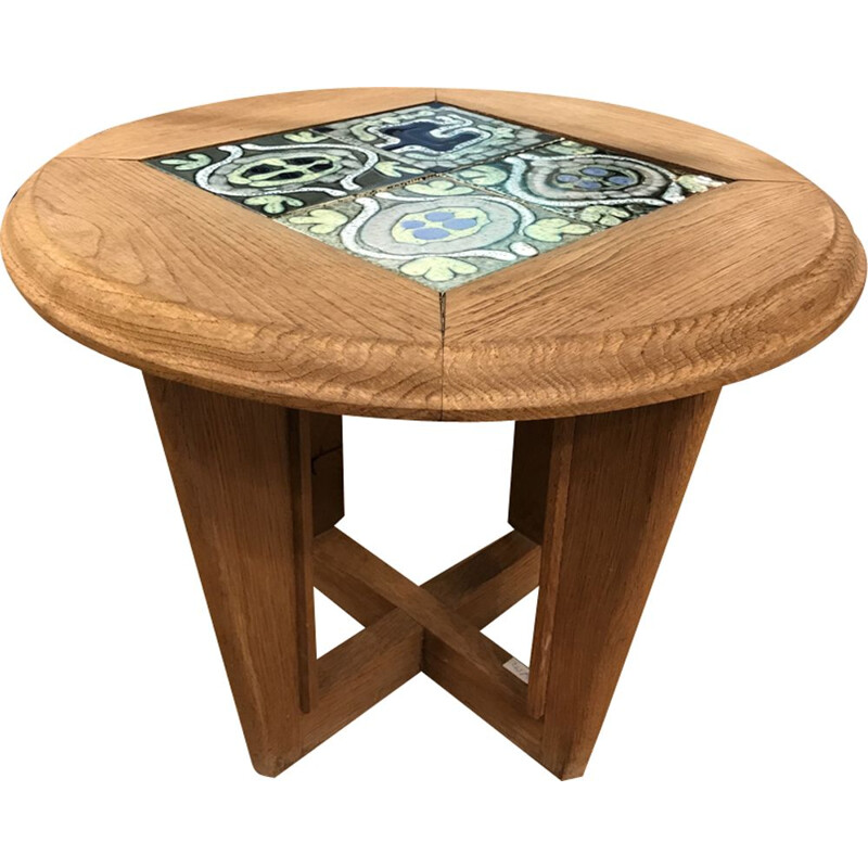 Coffee table in oak and ceramic by Guillerme and Chambron