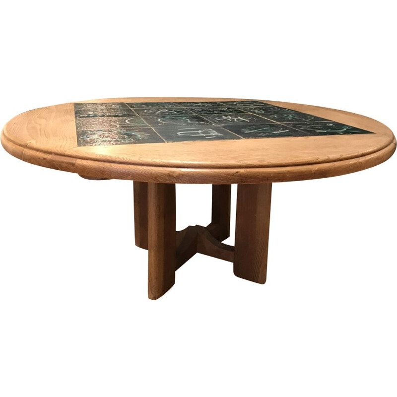 Vintage coffee table in oak by Guillerme and Chambron