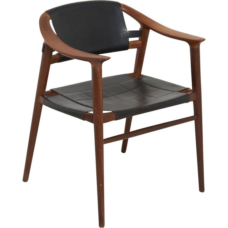 Bambi chair in black leather by Rastad & Relling