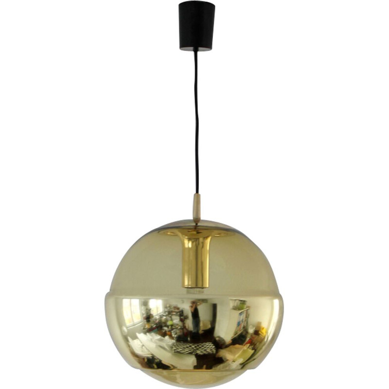 Golden pendant lamp in glass by Peill & Putzler
