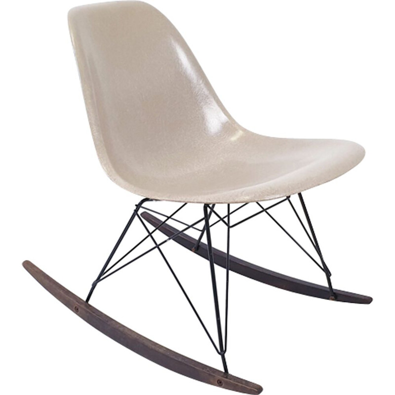 Beige rocking chair by Eames for Herman Miller