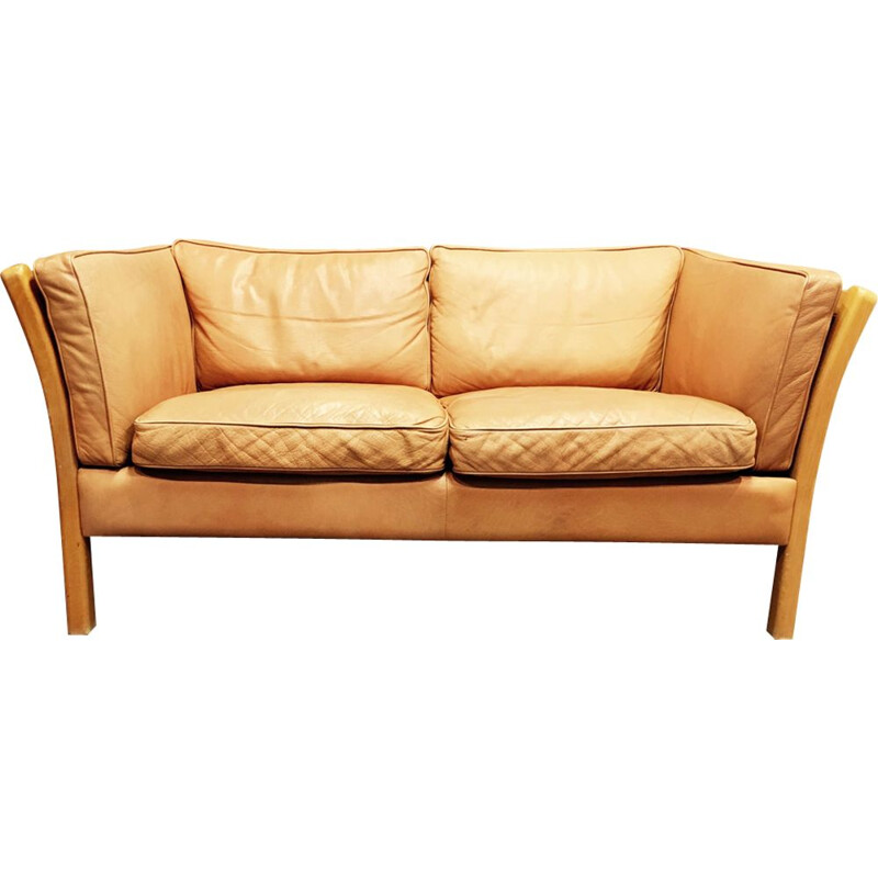 2-seater sofa in beige leather by Stouby