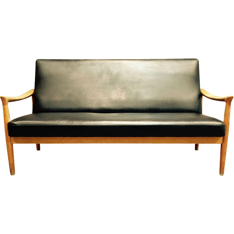 Vintage sofa in oak and leatherette by Fritz Hansen