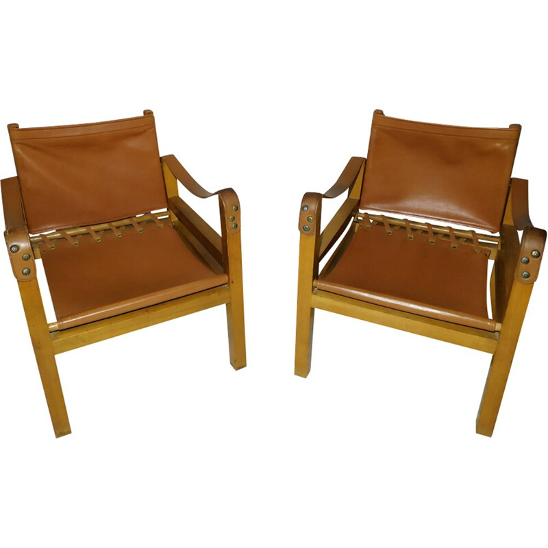 Pair of vintage armchairs Safari in leather, 1950s