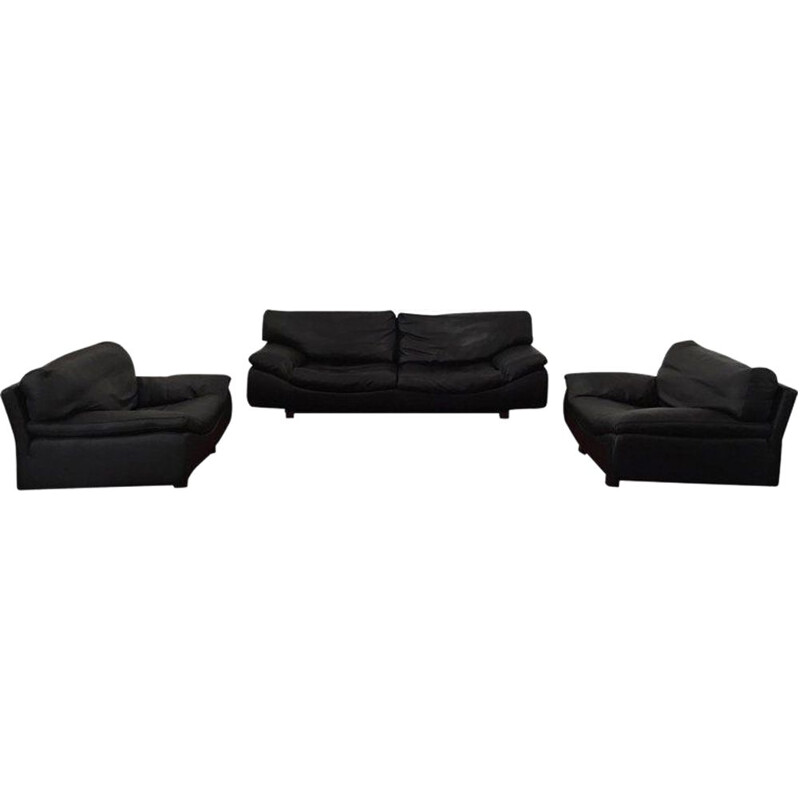 Vintage Sofa and 2 lounge chairs, living room set Roche Bobois, Black Leather